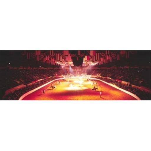 Panoramic Images PPI32462L Group of people performing with horses in a stadium 100th Stock Show And Rodeo Fort Worth Texas USA Poster Print by Pan