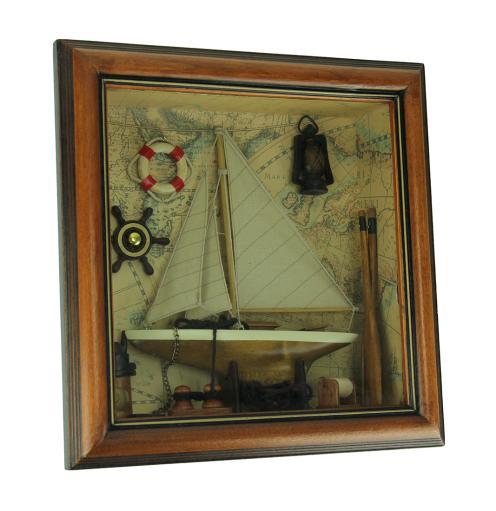 World Map Nautical Decor In Wood Shadow Box Wall Hanging