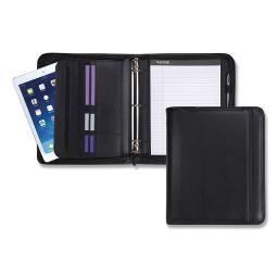 Professional Zippered Pad Holder/Ring Binder Pockets Writing Pad Vinyl Black   Total Quantity: 1