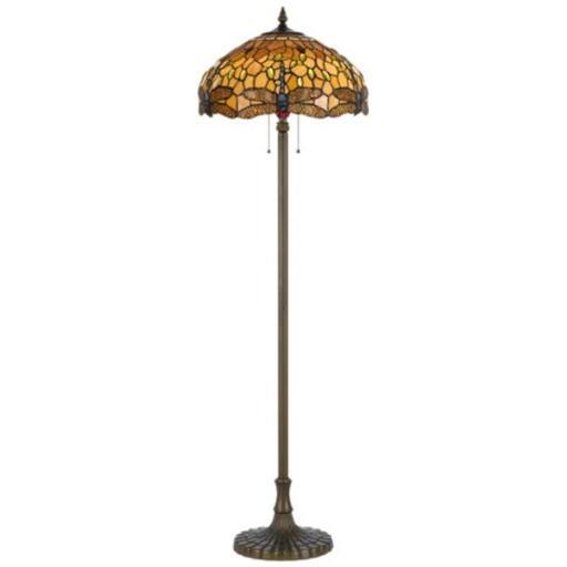 Cal Lighting BO-2372FL 60 W x 2 Tiffany Floor Lamp, Zinc Cast Base, Antique Brass With Dragon Fly Design