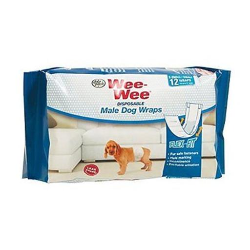 Central - Four Paws Products FP97226 Wee Wee Disp Male Wrap, Small & Extra Small - 12 Count