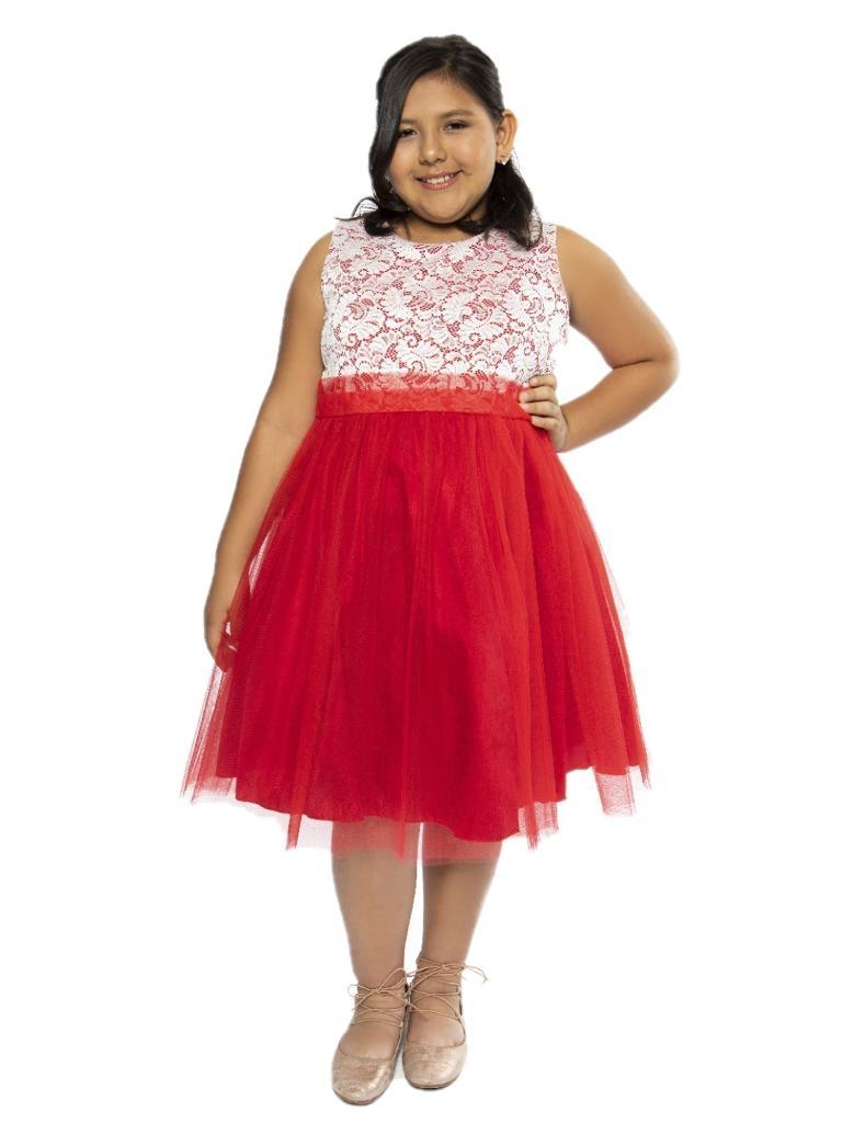 Kids Dream Big Girls Red Lace Tulle Plus Size Junior Bridesmaid Dress  14.5-20.5