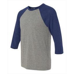 Bella-canvas C3200 Unisex 0.75 Sleeve Baseball T-shirt, Grey And Navy Triblend, Medium