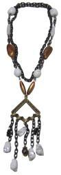 White Orange Bead Drop Fashion Necklace Brass