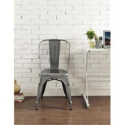 Walker Edison CH33MCGM 17 x 33 in. Metal Cafe Chair - Gun Metal Silver