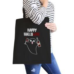 Happy Hallowine Ghost Black Canvas Tote Bag Funny Wine Lover Gifts