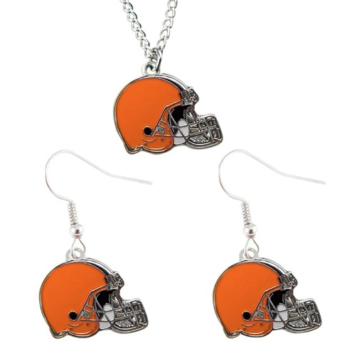 Sports Team Logo Cleveland Browns Dangle Earring and Necklace Set NFL Charm Gift