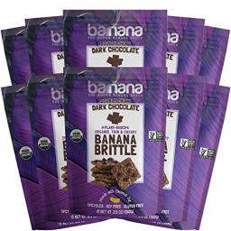 Barnana Organic Crunchy Banana Brittle - Double Chunk Dark Chocolate, 3.5 Ounce (10 Count) - Healthy Vegan Cookie Style Dessert Snack - Made with Sustainable, Eco Friendly Upcycled Bananas
