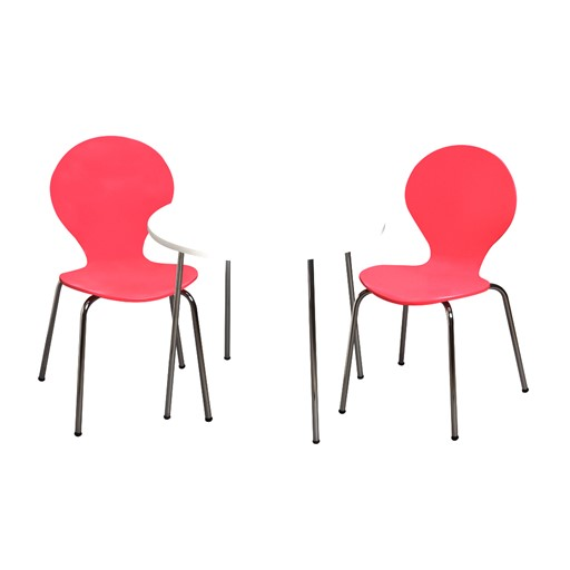 Gift Mark Modern Childrens Table and 2 Chair Set with Chrome Legs (Pink Color Chairs) The Gift mark Modern Childrens Table and Two Chair set, is detailed with beautiful Chrome Legs. Our sculptured Chairs, add a bit of Color and Whimsy. The beautiful hand crafted Table and Chair set is the Ideal place for, Learning, Playing, or Learning. Makes the Perfect Gift, for Nursery, Play room, or Den.  All tools included for Easy Assembly.