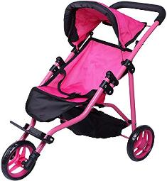 Precious Toys Jogger Hot Pink Doll Stroller, Black Foam Handles and Hot Pink Frame - 0129A