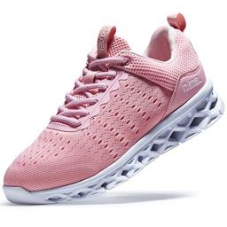 CAMEL Running Shoes Women's Lightweight Road Sports Sneakers Polyester Mesh Jogging Shoe(Pink, 10 M US)