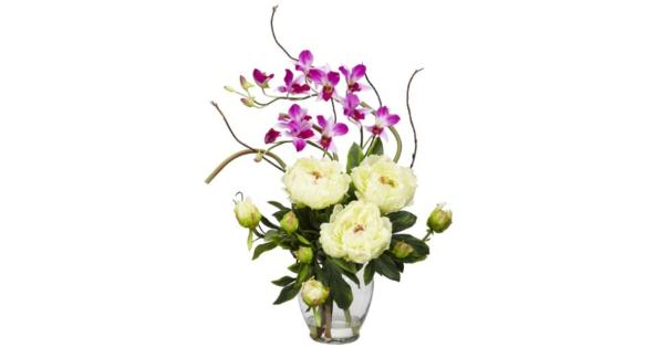 Nearly Natural 1175-WH Peony and Orchid Silk Flower Arrangement, White Arrangement is designed to be displayed with a view from the front*Brighten up any room or office space for years to come*Flowers are set in place with artificial water*Pot Size 5.5w x 7.5h*A perfect harmony of color and design
