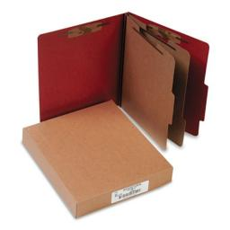 "ACCO Durable Pressboard Classification Folders, Letter Size, 3"" Expansion, 2 Partitions, 60% Recycled, Earth Red, Box of 10"