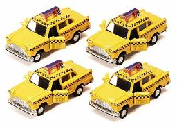 Old Fashion Yellow Checker NYC Diecast Taxicabs - Set of 4