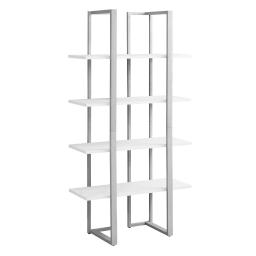 """Offex 60""""H Contemporary Home Industrial Look Silver Satin Metal Bookcase, White"""