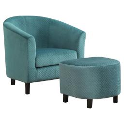 Offex 2Pc Living Room Accent Chair and Ottoman Set - Turquoise