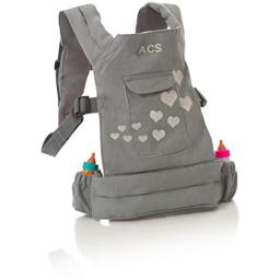 "ACS Baby Doll Carrier Backpack - Grey, Fits 18"" Dolls"