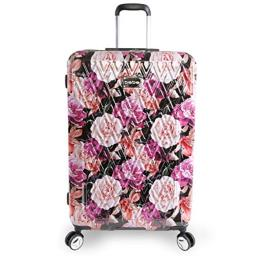 """BEBE Women's Luggage Marie 29"""" Hardside Check in Spinner, Black Floral Print"""