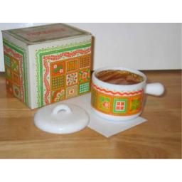 Avon 1973 Patchwork Perfumed Candle and Holder