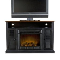 "Southern Enterprises Antebellum Media Electric Fireplace 48"" Wide, Black with Walnut Finish"
