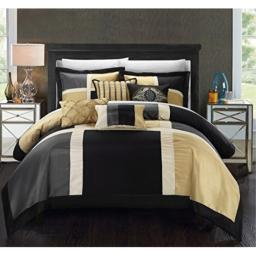 Chic Home 11 Piece Leola Patchwork Solid Color Block with embroidery and pintuck decorative pillows King Bed In a Bag Comforter Set Black With White Sheets included