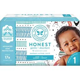 The Honest Company Club Box - Size 1 - Teal Tribal & Space Travel Print with TrueAbsorb Technology | Plant-Derived Materials | Hypoallergenic | 80 Count