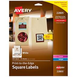 """Avery Square Labels for Laser & Inkjet Printers, Print-to-the-Edge, 1.5"""" x 1.5"""", 600 Labels (22805), White"""