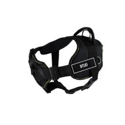 Dean & Tyler 28 to 34-Inch Stud Fun Harness with Padded Chest Piece, Medium, Black with Yellow Trim