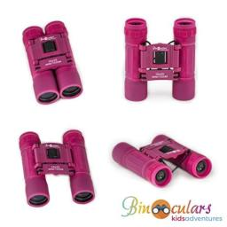 Binoculars for Kids | Anti-Slip Rubber Grip | Toy for Boys and Girls with High-Resolution Real Optics - Best for Bird Watching, Travel, Safari, Adventure, Outdoor Fun (Pink)