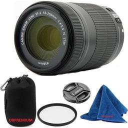 Canon EF-S 55-250mm F4-5.6 IS STM (Bulk White Box Packaging) DBPREMIUM Lens Bundle + High Definition U.V. Filter + Deluxe Pouch for Canon Digital SLR Cameras