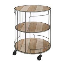 3 Tier Wood and Metal Frame Rolling Cart with Casters, Brown and Silver