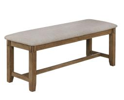 Fabric Upholstered Wooden Frame Bench with Chamfered Legs, Gray and Brown