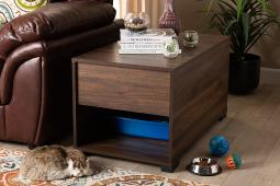 Baxton Studio Skylar Modern and Contemporary Walnut Brown Finished Cat Litter Box Cover House