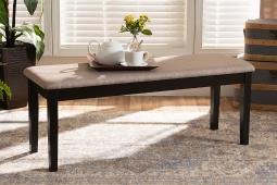 Baxton Studio Teresa Modern and Contemporary Transitional Sand Fabric Upholstered and Dark Brown Finished Wood Dining Bench