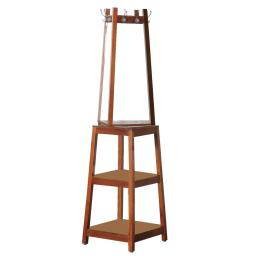 Wooden Swivel Hall Stand with Mirror and Multiple Hooks, Cherry Brown