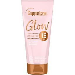 Coppertone Glow Hydrating Sunscreen Lotion with Illuminating Shimmer Minerals and Broad Spectrum SPF 15, Water-resistant, Fast-drying, Free of Parabens, PABA, Phthalates, Oxybenzone, 5 oz