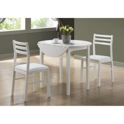 """Offex OFX-284071-MO White 3 Piece Dining Set with a 36""""Dia Drop Leaf Table"""
