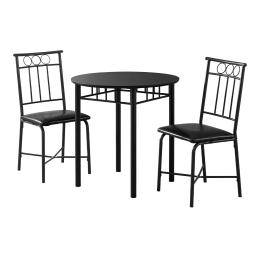 Offex OFX-503679-MO Home Kitchen 3 Piece Dining Set - Black Metal and Top