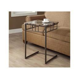 Offex OFX-284412-MO Cappuccino Marble/Bronze Metal Snack Table