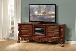 Traditional Style 4 Drawer TV Console with Claw Feet, Cherry Brown
