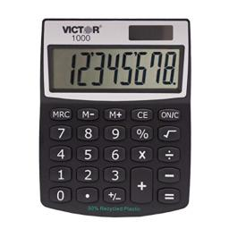 Victor 1000 8-Digit Standard Function Calculator, Battery and Solar Hybrid Powered Angled LCD Display, Great for Home and Office Desks