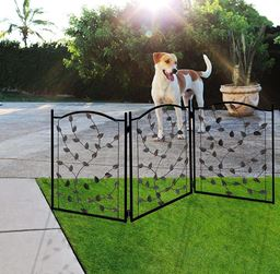 "Folding Pet gate Leaf Design – Retractable Dog Gate – 50"" Dog Gates Indoor Outdoor – Wide Pet Gate"