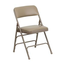 Offex Curved Triple Braced & Double Hinged Beige Vinyl Metal Folding Chair
