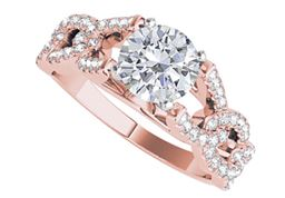 Cubic Zirconia Engagement Ring with Criss Cross Design