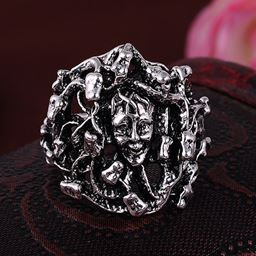 Punk Vintage Trend Men's Ring Gothic Men Skull Flower Biker Zinc Alloy Ring - 8, sa1067