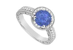 Created Sapphire and Cubic Zirconia Halo Engagement Ring in White Gold 14K Total Gem Weight 1.05