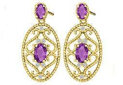 Fancy Oval Amethysts and Round Cubic Zirconia Earrings in 14K Yellow Gold
