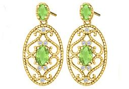 Fancy Oval Peridot and Round Cubic Zirconia in 14K Yellow Gold