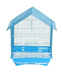 """YML A1114MBLU House Top Style Small Parakeet Cage - 11"""" x 9"""" x 16"""" - Blue"""
