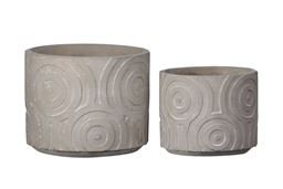 Urban Trends Collection UTC59809 Cement Round Pot with Embossed Circle Pattern Design Body, Natural Finish Gray - Set of 2